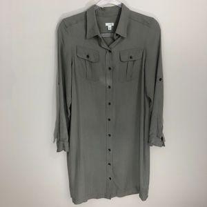 Anthro Odille Green Silk Button Down Shirt Dress S